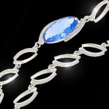 """""""September Morn""""  $39.99 CAD - The perfect gift for the September birthday lady. Featuring a sapphire blue oval cut Swarovski crystal on a toggle bracelet finished in rich rhodium. 7"""" bracelet. Nickel and lead free."""
