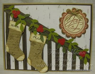 Stairway with stockings garland card with names for Hang stockings staircase