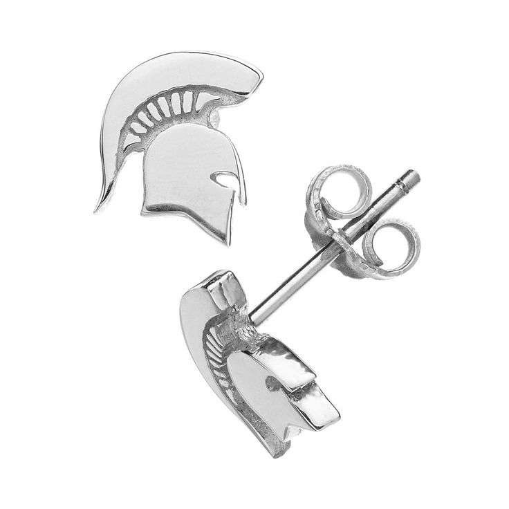 Dayna U Michigan State Spartans Sterling Silver Logo Stud Earrings, Women's, Grey
