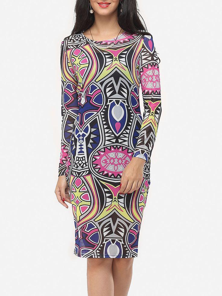 Round Neck Dacron Printed Bodycon Dress - fashionme.com