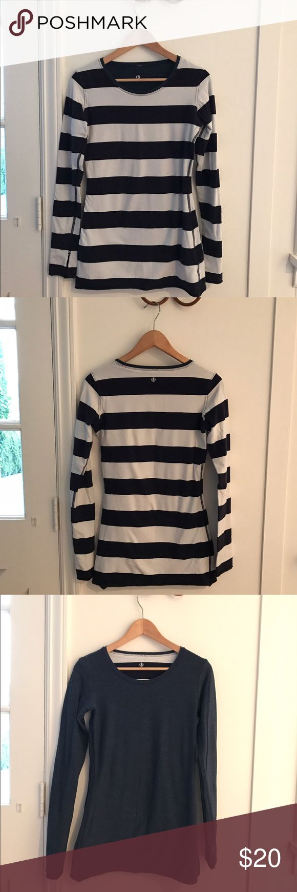 Lululemin Reversible Striped Top Lululemon reversible top in a stretchy luon fabric. One side is navy and white striped and the opposite is a light navy color. Thumb holes on sleeves for warmth. lululemon athletica Tops Tees - Long Sleeve