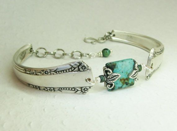 Silver Spoon Bracelet Del Mar 1939 African Turquoise Silverware Jewelry Oh How Pretty Pinterest And