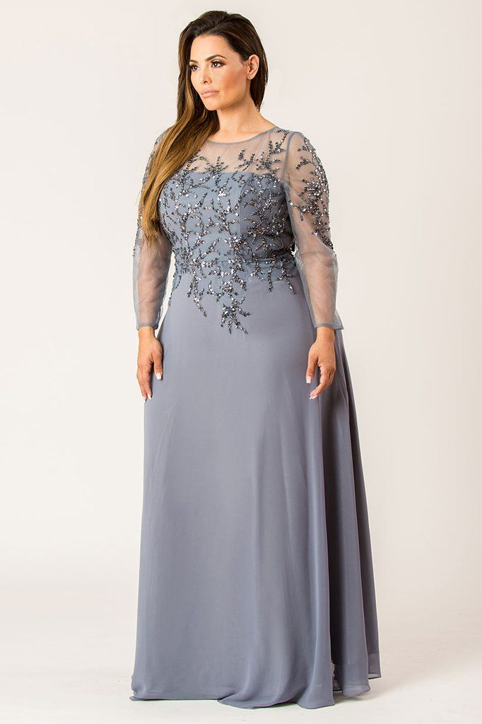 Ladies Designer Embroidered Sequin Chiffon Evening Party Dress Size  Womens
