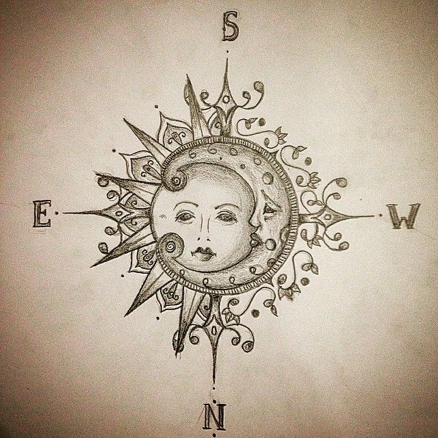 Image result for compass clock sun drawing
