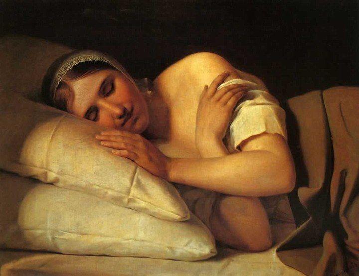"""Алексе́й Гаври́лович Венециа́нов (1780—1847) """"Спящая девушка"""" (1840-е годы, холст, масло, 53х68)"""
