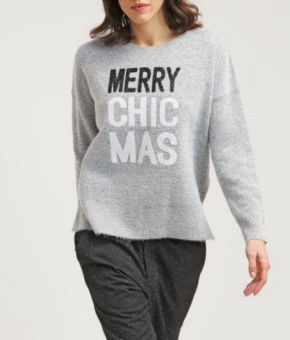 New Look Sweter z napisem Merry Chic Mas pale grey