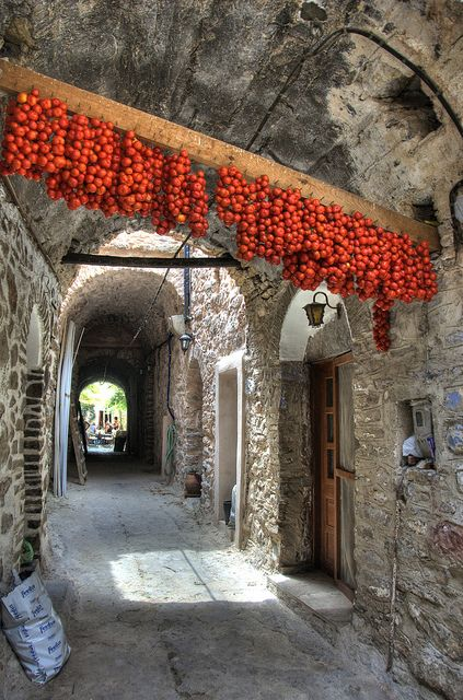 Tomato Tunnel, Mesta, Chios Island, Greece. A popular excursion on Chios is to the Medieval Villages. The village of Mesta is the most well-preserved. The houses are built side-by-side so tightly that there are only two entrances to the village. The streets are very narrow, and most of them are covered with arches and vaults.