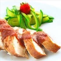 Chicken fillet in strawberry marinade