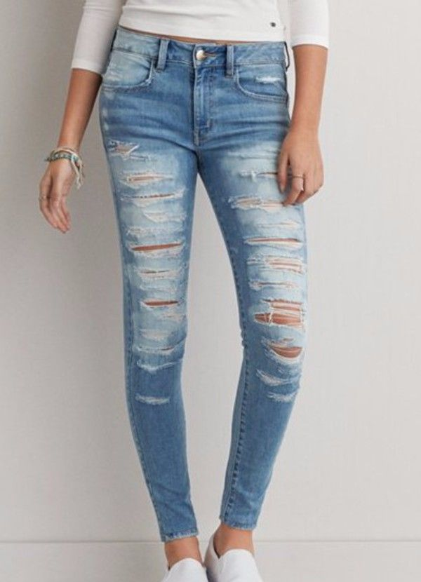 American Eagle ripped skinny jeans :)