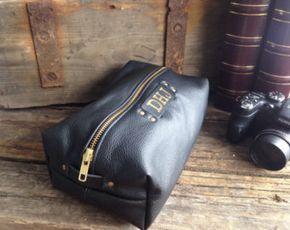 Neceser de cuero para hombre, lavado cuero negro bolsa, bolso de la colada de Mens, bolsa de viaje, Dopp Kit, regalo hecho a mano, personalizados bolsa de lavado