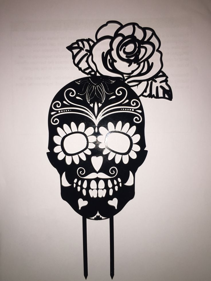 Day of the dead cake topper in black acrylic