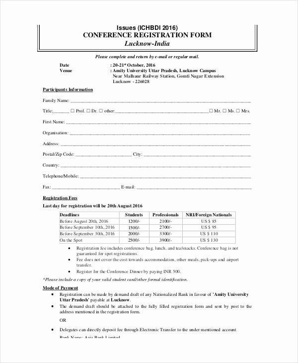 Printable Registration Form Template Inspirational Printable