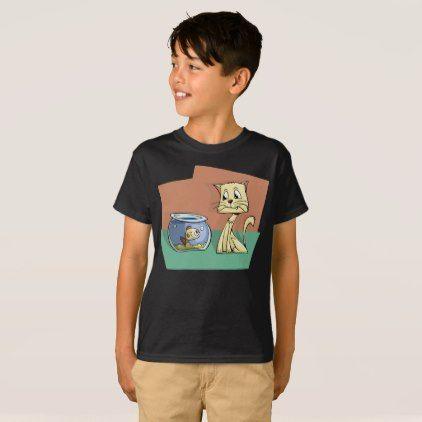 Smiling Cat Smiling Fish Bowl Stare Kids T-Shirt - kids kid child gift idea diy personalize design