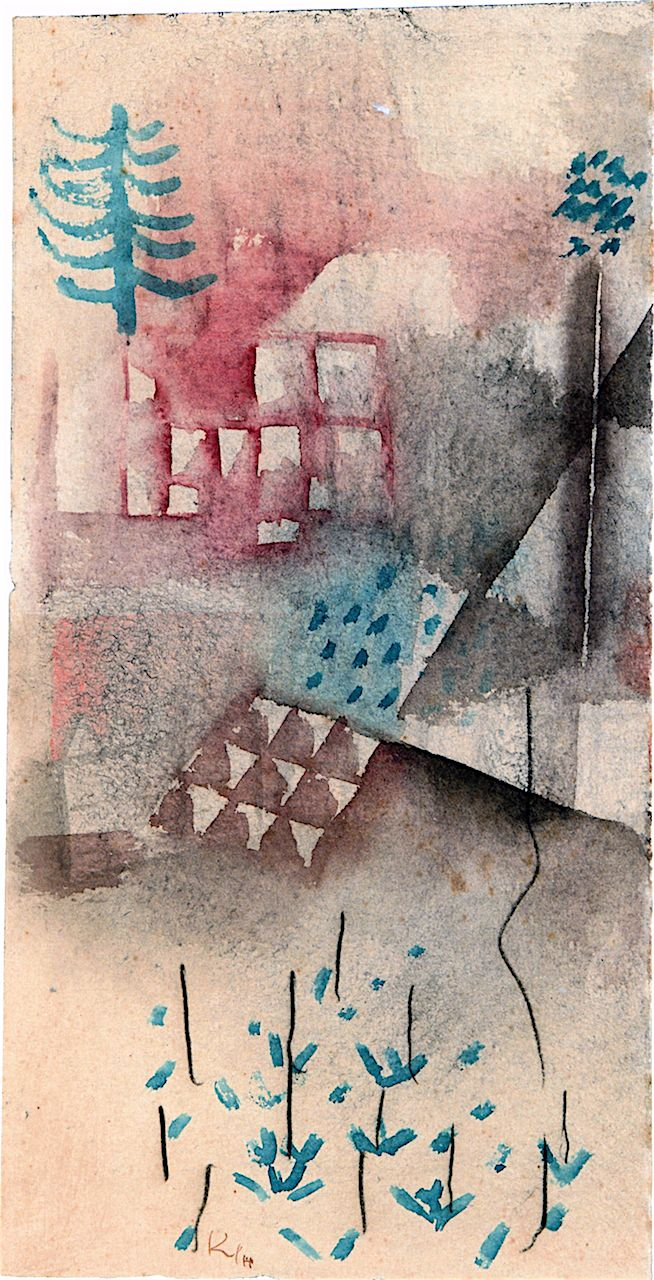 """Paul Klee 'Trees in the Garden' 1929 Watercolor and crayon on paper on cardboard 12.8 x 6.5"""""""