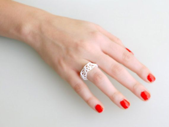 spring fashion white geometric ring  Triangulated by ArchetypeZ, $15.00Summer Fashion, Fashion Pink, Geometric Rings, Spring Fashion, Winter Fashion, Rings Triangulation, Triangulation Rings, White Geometric, Fashion White