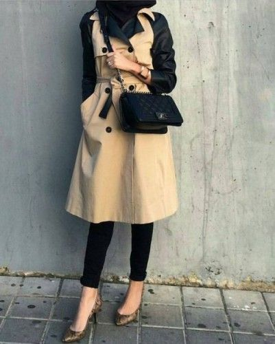 trench coat hijab look, Hijab chic from the street…
