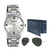 Sonata Men's Wrist Watch with Sunglasses and Gents Wallet with 3 free Rakhi Rs 2799 http://www.indiaflowermall.com/rakhibrother.htm