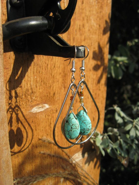 Love Love Love  Turquoise Drop Earrings with Brandy and Amber by fleurdesignz, $22.00