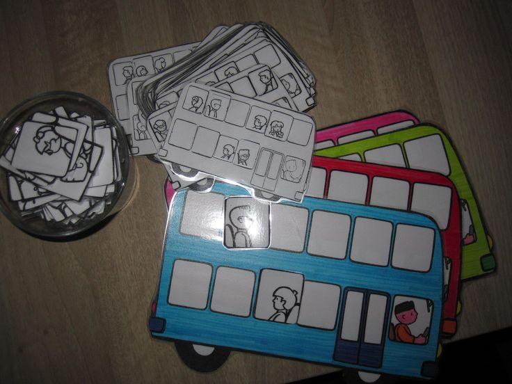Busspel: 1 kleuter kiest een voorbeeld kaart en zegt waar zijn vriend de mensen moet plaatsen in de bus. Op het einde: controleren. Goed voor begrippen: bovenaan, rangtelwoorden...