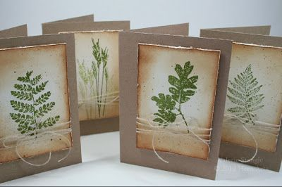 notecard set formula: kraft card base, cream panel with roughed edges and brown distress ink, botanical leaf stamped ion green, wrappred in string tied in a bow...luv the earthy feel...