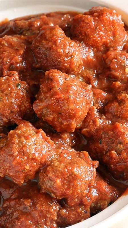 Crockpot Italian Meatballs and Marinara  ~ Tender cheesy meatballs are slow cooked in a flavorful sauce made with ingredients from your pantry.