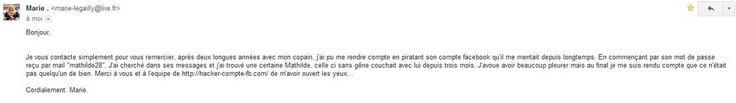 Chronique de Marie qui a piraté le compte Facebook de son petit ami sur http://hacker-compte-fb.com/ et qui s'est rendu compte de quelque chose de grave...