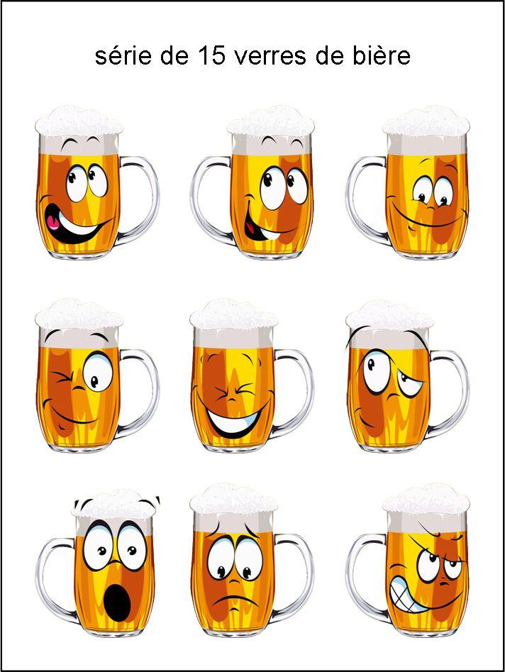 CF - collection de verres de bière - smiley émoticône clipart cartoon - téléchargement gratuit et sans inscription