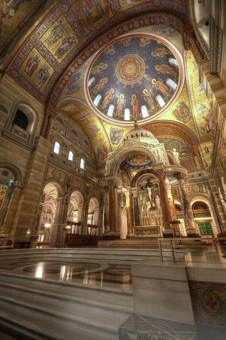 The Cathedral Basilica of St. Louis in St. Louis, Missouri. Built in the Romano-Byzantine style, it contains one of the largest mosaic cycles in the world. 1912 - 1988.