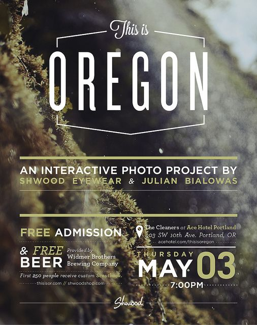 "May 3: Shwood Presents ""This is Oregon"" First Thursday Photo Show @ The Cleaners at ACE Hotel Portland by PDX Pipeline"
