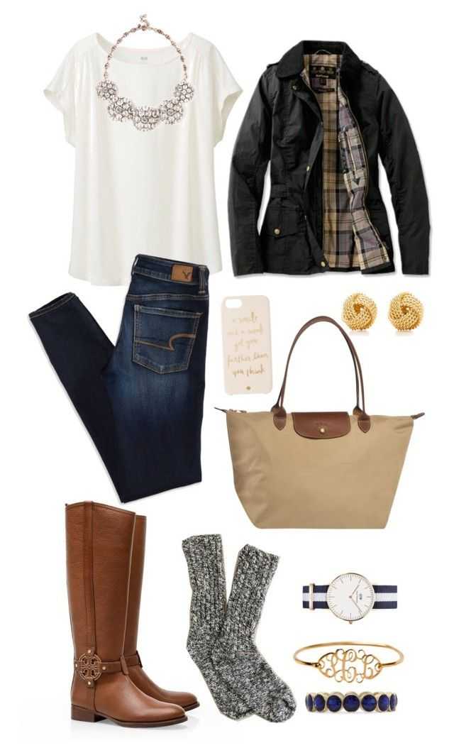 rainy day=cozy outfit by caitlingorm on Polyvore featuring Uniqlo, Barbour, American Eagle Outfitters, Tory Burch, Daniel Wellington, Sole Society, Tiffany & Co., Monet, Kate Spade and J.Crew