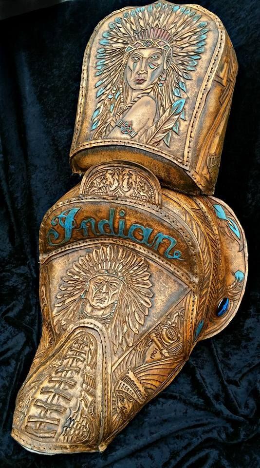 Misfit Skinny Kustoms Handmade tooled leather Motorcycle seats Leather goods Bobber seats Custom Leather