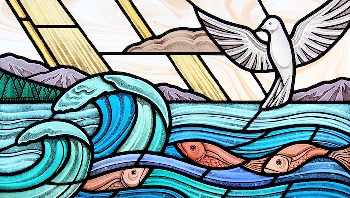 The Creation of the Sea. Commissioned stained glass window.  gilroystainedglass.com