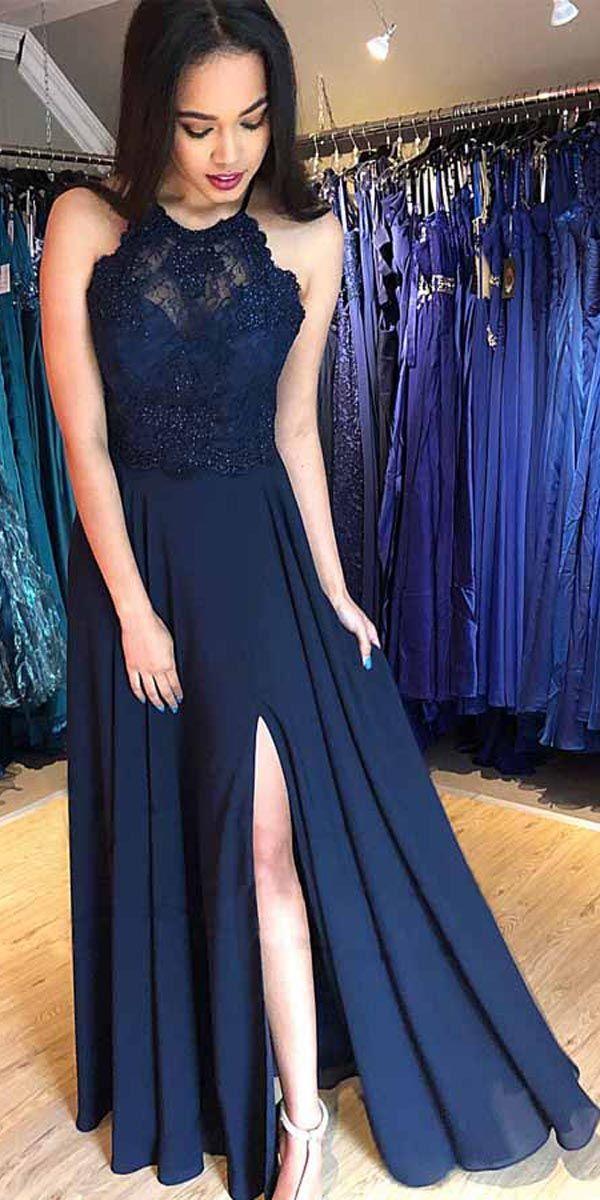 A-LINE NAVY BLUE CHIFFON SPLIT LONG PROM DRESS WITH BEADING PG826   promdresses  splitdress  eveningdress  longpromdress  formaldress  navyblue 7bfc33194000