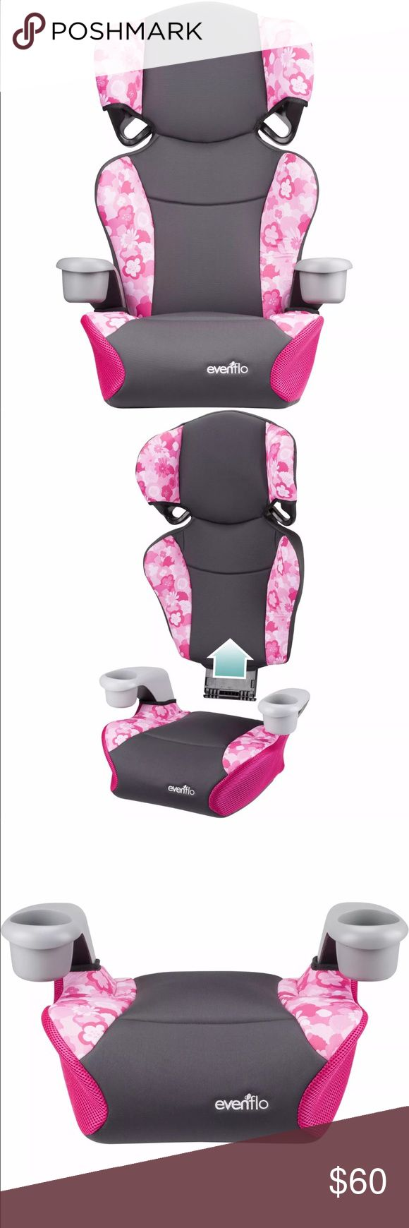 """Evenflo Big Kid Sport high Back Booster Seat Peony U.S. weight:40 - 110 lbs (13.6 - 49.8 kg) U.S. Height: 38 - 57"""" (97 - 145cm) Canadian Weight: 40 - 110 lbs (18 - 49.8 kg) Canadian Height: 40 - 57"""" (102 - 145cm) Age: child is at least 4 years old or older Child's ears are below top of child restraint headrest For Use as No Back Booster (without backrest) Weight: 40 - 110 lbs (18 - 49.8 kg) Height: 40 - 57"""" (102 - 145cm) tall Age: child is at least 4 years old    Maximum Weight 110 lbs…"""