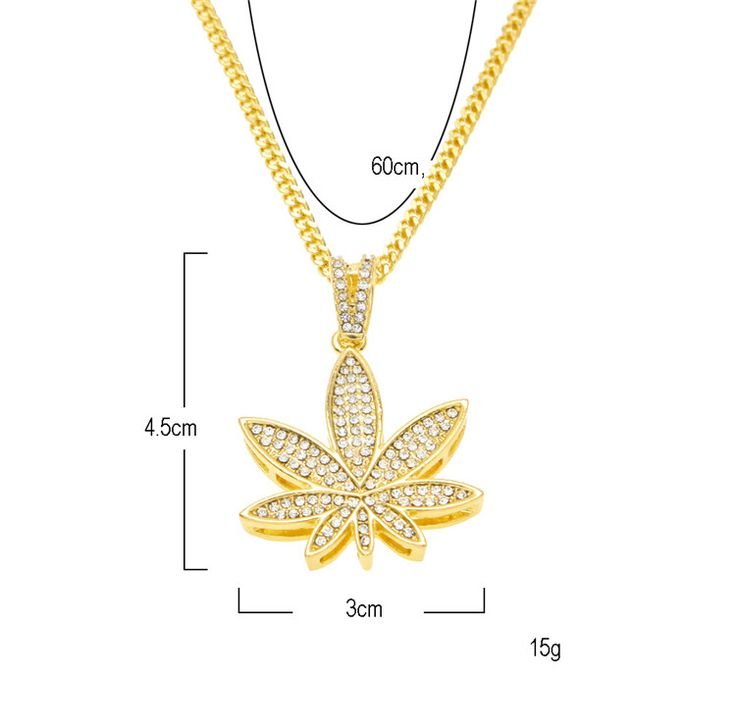 Hip Hop Golden Hemp Leaf Crystal Necklace //Price: $19.44 & FREE Shipping //     #cannabisjewelry