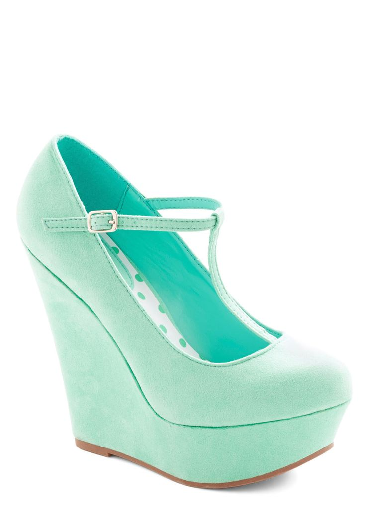 Take It from the Taupe Wedge in Spearmint. Tapping the toe of your platform heel to the beat of the drums, you glance out at the empty stadium that will soon be filled with your most devoted fans. #mint #modcloth