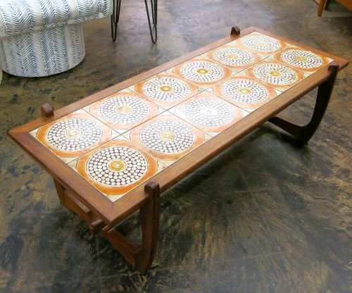 Mid Century Danish Modern Tile Coffee Table On Beautiful Base. Great  Colors, Tiles In