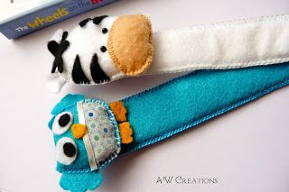felt owl and zebra bookmark