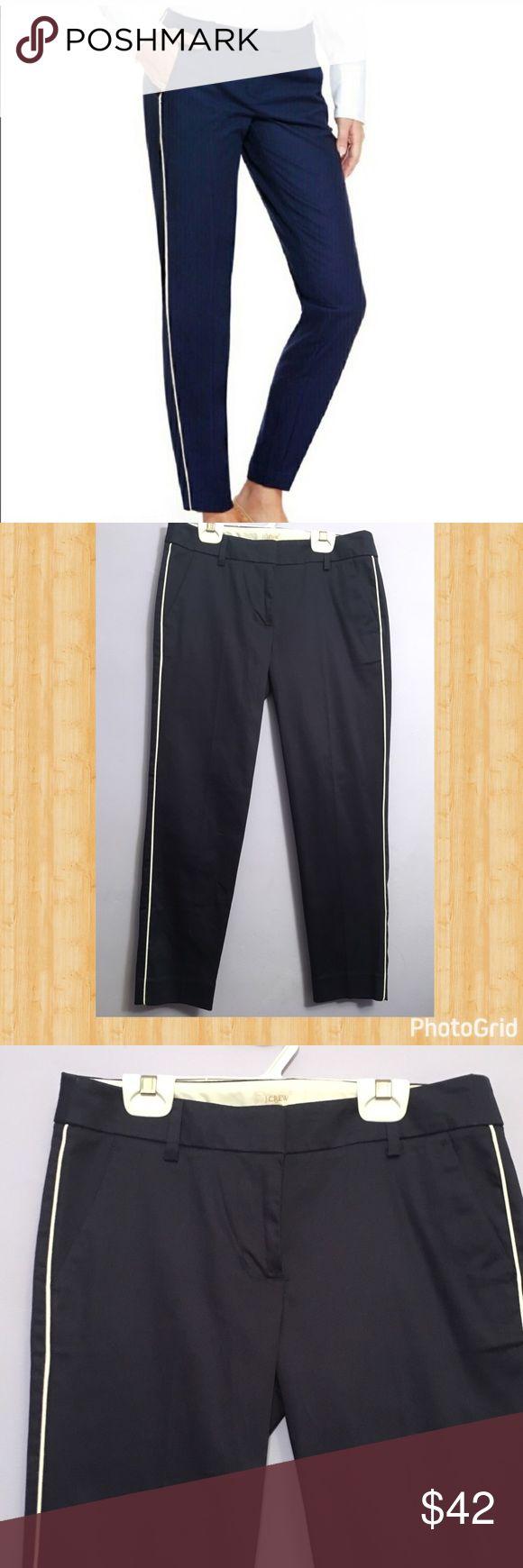 Navy blue tuxedo pants with white stripe on side J. Crew navy blue pants with stretch. J. Crew Pants
