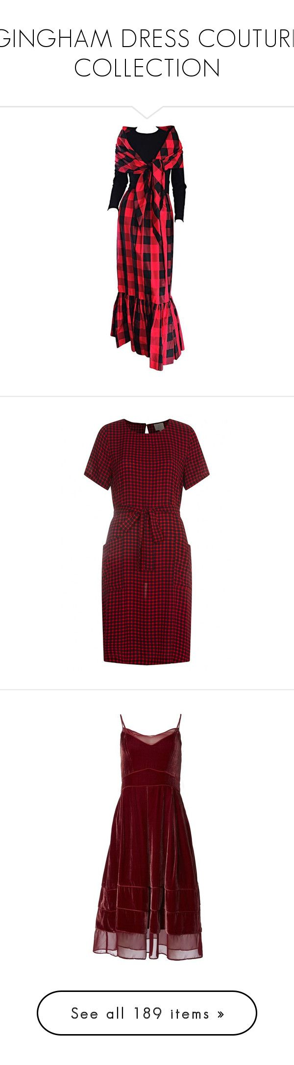"""""""GINGHAM DRESS COUTURE COLLECTION"""" by kuropirate ❤ liked on Polyvore featuring dresses, evening gowns, red, red and black dress, long flared dress, red flare dress, red gingham dress, sleeved dresses, midi dress and summer evening dresses"""