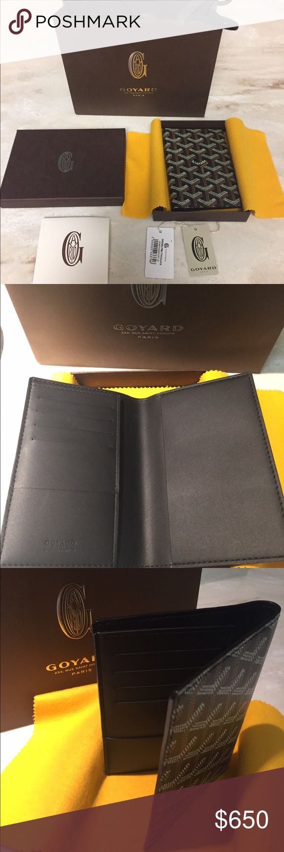 Goyard Grenelle Passport Cover - NEVER USED Goyard Grenelle Passport Cover  Purchased in San Francisco in May 2016, never used. Comes with original box, cloth, tags and bag.   Suggested retail price: $775, selling for $650 firm   Measurements:  Height: 5.5 inches  Width: 4 inches  Depth: .05 inches Goyard Accessories