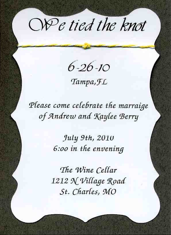 wedding reception only invitations we tied the knot 1 50 via