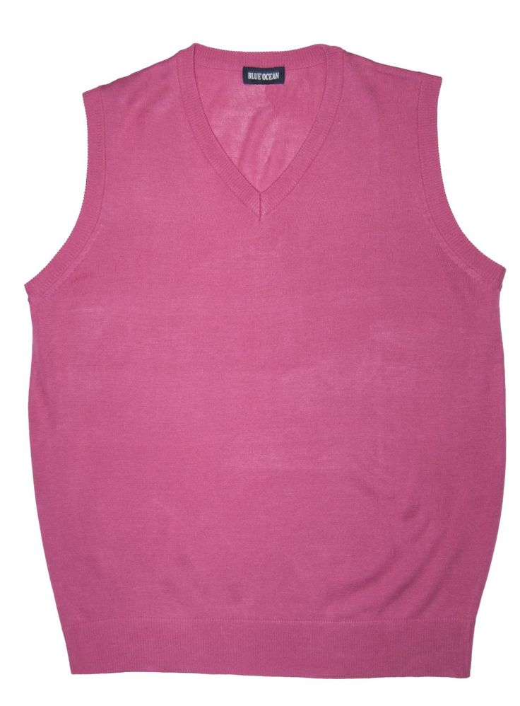 Pink Solid Sweater Vests for Men    www.yookstore.com