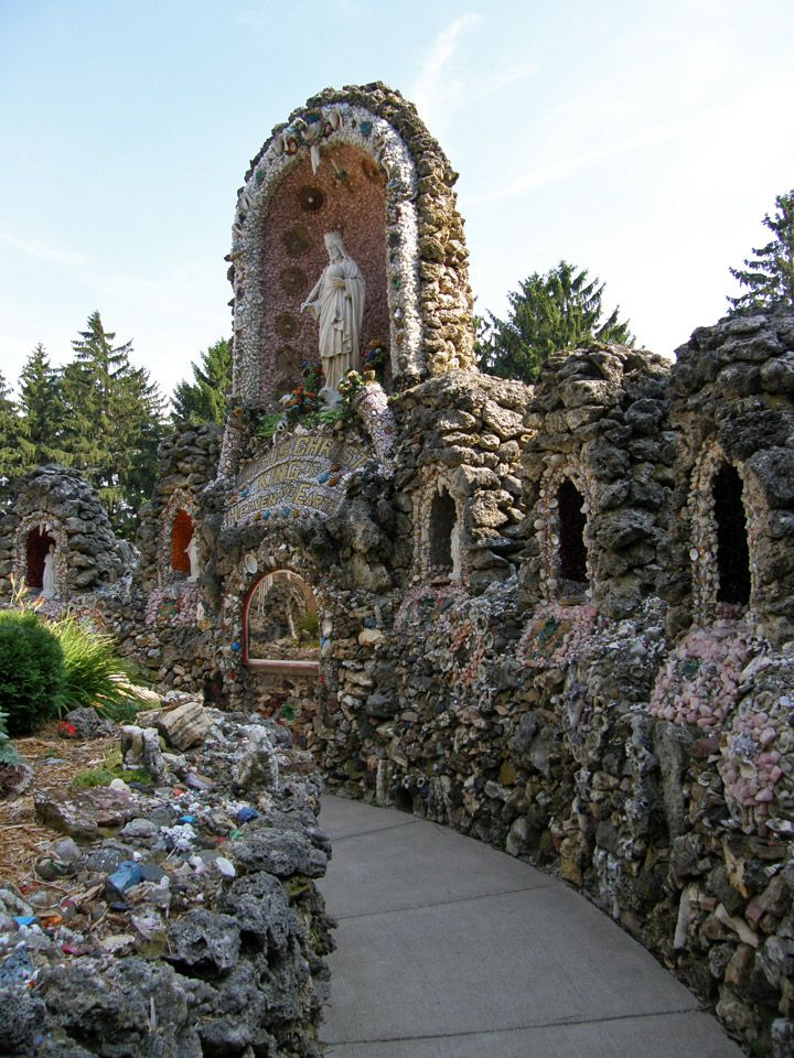 "Dickeyville Grotto, Dickeyville, Wisconsin ""Many of the people who immigrated here came from a culture where it was normal to promise to build something big if your prayers were answered,"" said Timmerman. ""I believe the tradition dates back to the time of the European plagues. People, entire villages, would vow that if they were saved from the plague they would build a shrine in thanks. ""Plus, some people just like to build stuff,"" Timmerman added. ""It's in their nature."""
