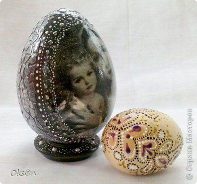 Поделка изделие Пасха Декупаж Папье-маше Пасхальное яйцо 2 Бумага Скорлупа яичная фото 1