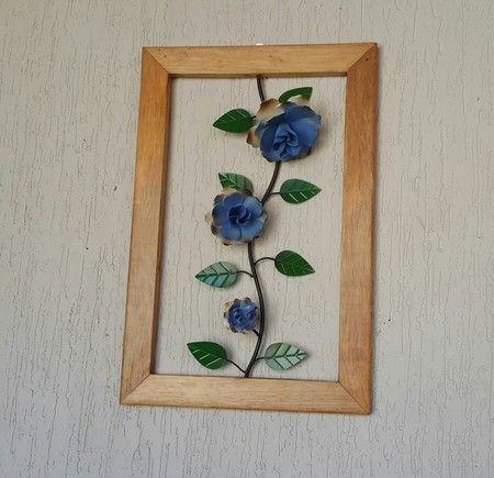 Tabla 3 flores con marco de color marrón claro - Sonharteira