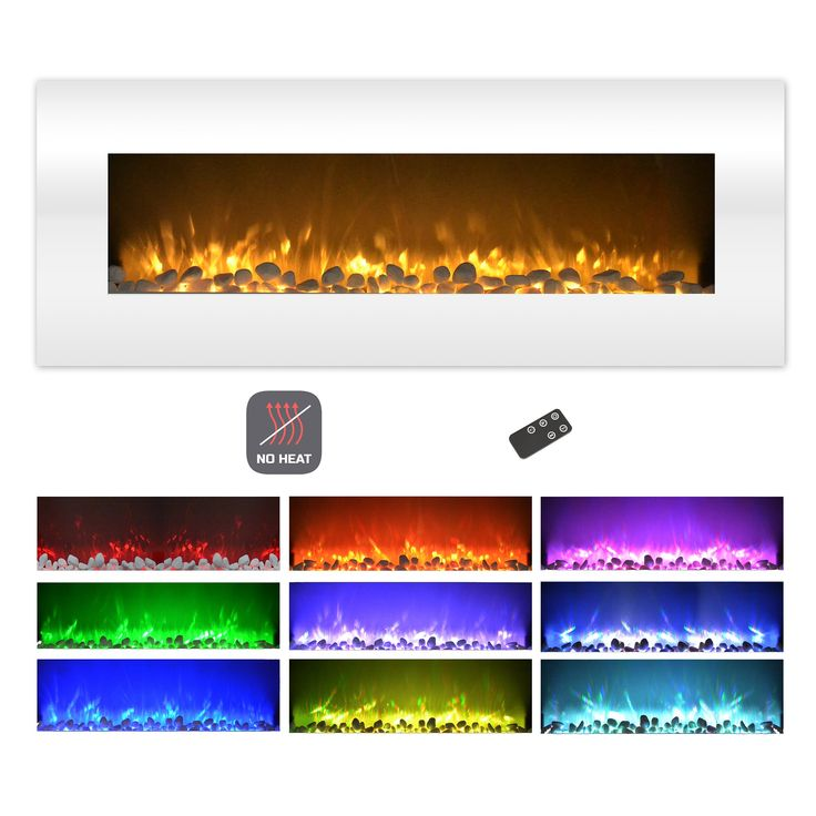 Electric Fireplace-Wall Mounted Color Changing LED Flame, NO HEAT and Remote Control by Northwest (50-inch, White) | Overstock.com Shopping - The Best Deals on Indoor Fireplaces