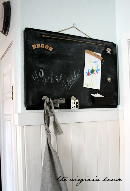 DIY Magnetic Chalkboard. Could use a large oil pan or dollar store cookie pan. Fab idea!