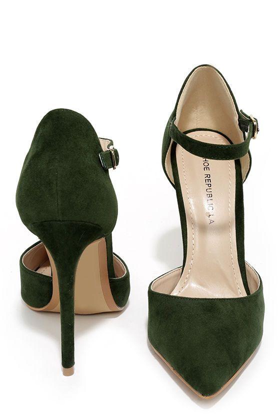 Olive Green Suede Ankle Strap Heels//