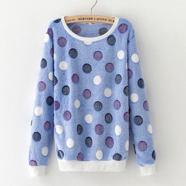 Woman Korean Pink Cartoon Fleece Sweatshirts Polka Dot Animal Velvet Pullover Hoodies 2016 Fall Winter Long Sleeve Tracksuit
